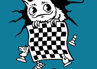 Šachožrout - ilustrace na trička