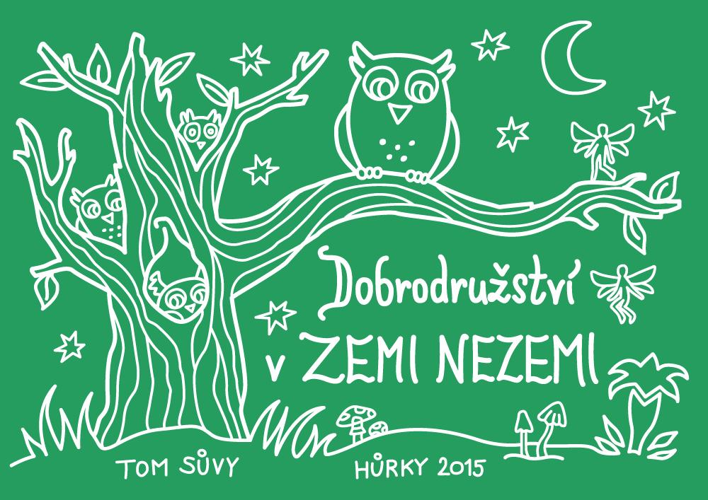 Dobrodružství v Zemi Nezemi - ilustrace na táborová trička pro TOM Sůvy