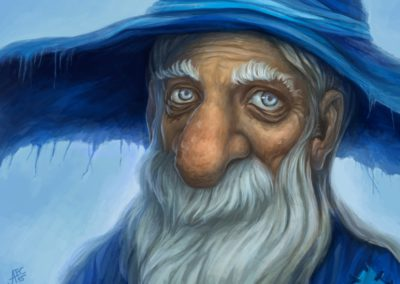 Blue wizard - done for Czech illustration project, monthly topic: Blue