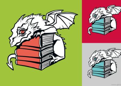 Bookdragon - t-shirt illustration for Lavondyss