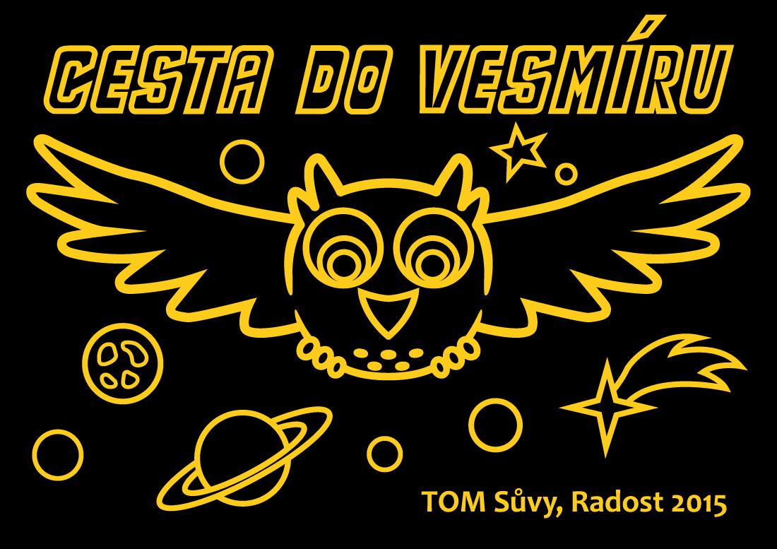 Cesta do vesmíru - ilustrace na táborová trička pro TOM Sůvy