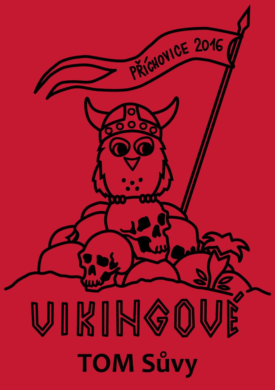 Vikingové - ilustrace na táborová trička pro TOM Sůvy