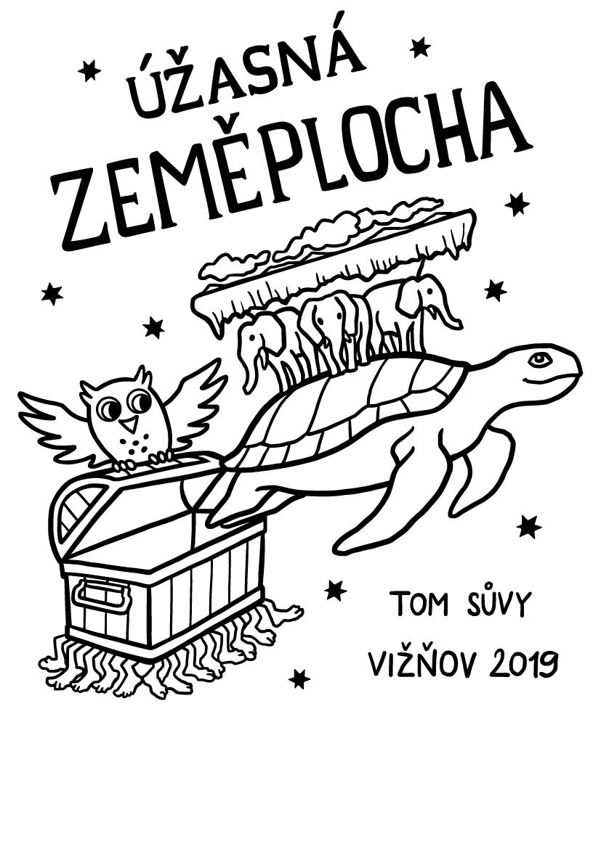 Úžasná Zeměplocha - ilustrace na táborová trička pro TOM Sůvy