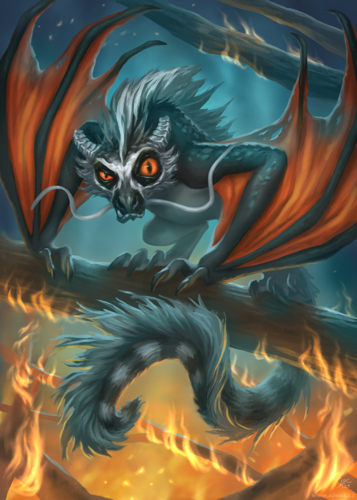 Fiery lemudragon (Lemudraco igneus) - illustration for Dragon calendar: DRAGONS 2022